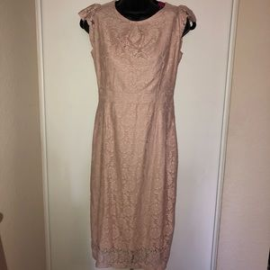 Lite rose fitted lace dress